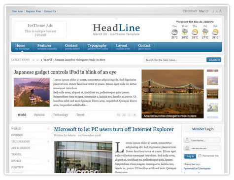 шаблон joomla IT Headline