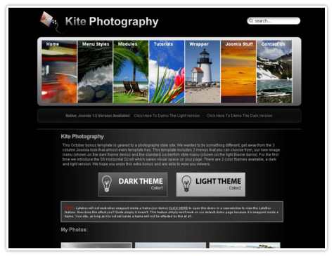шаблон joomla S5 Kite Photography