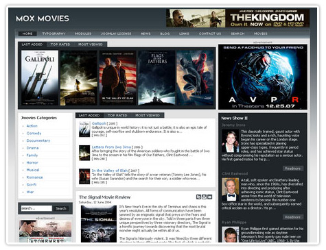 шаблон joomla GK Mox Movies
